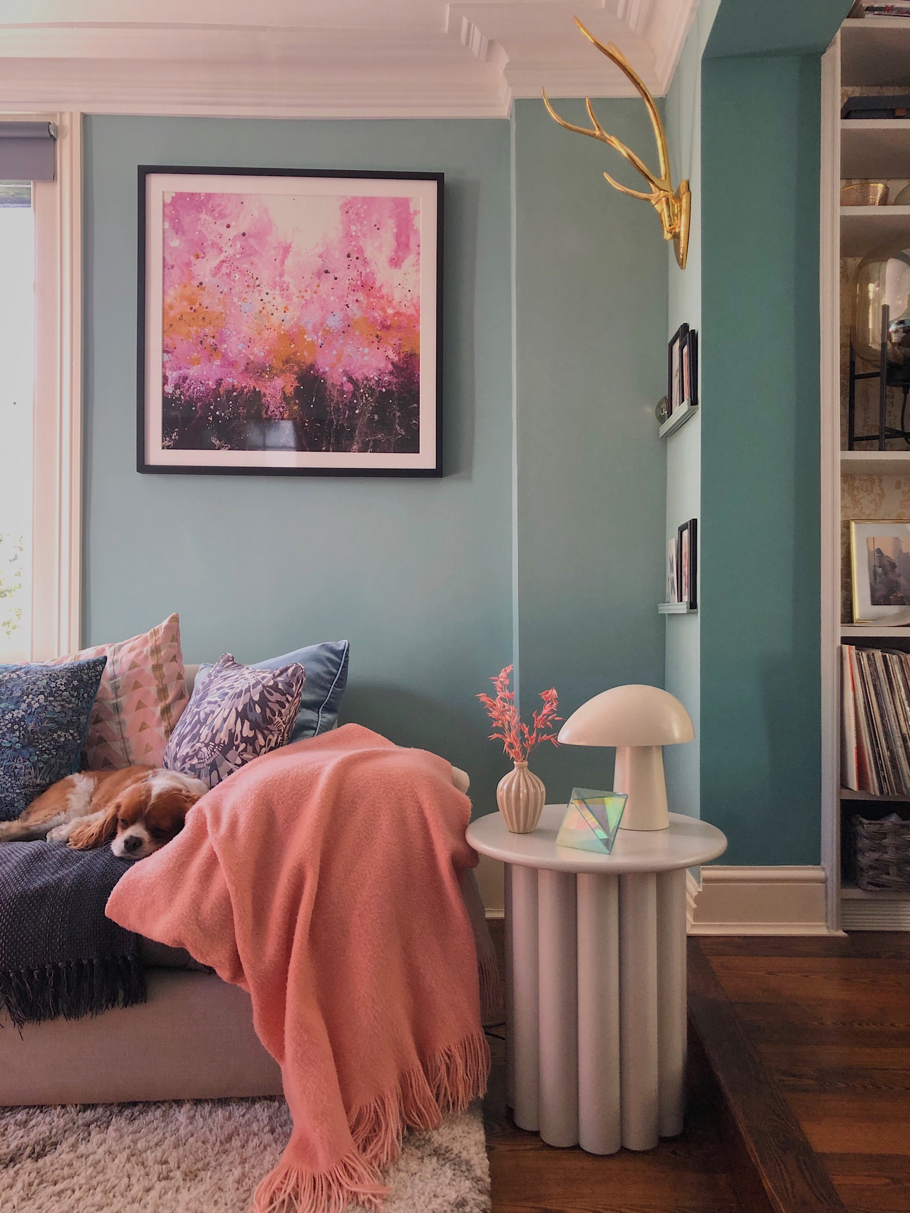 My living room painted in Farrow & Ball Dix Blue, a colour people always ask me about.