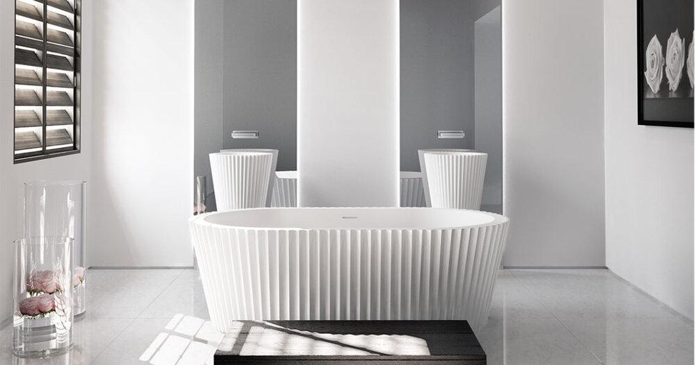 apaiser x Kelly Hoppen Origami marble bathtub.