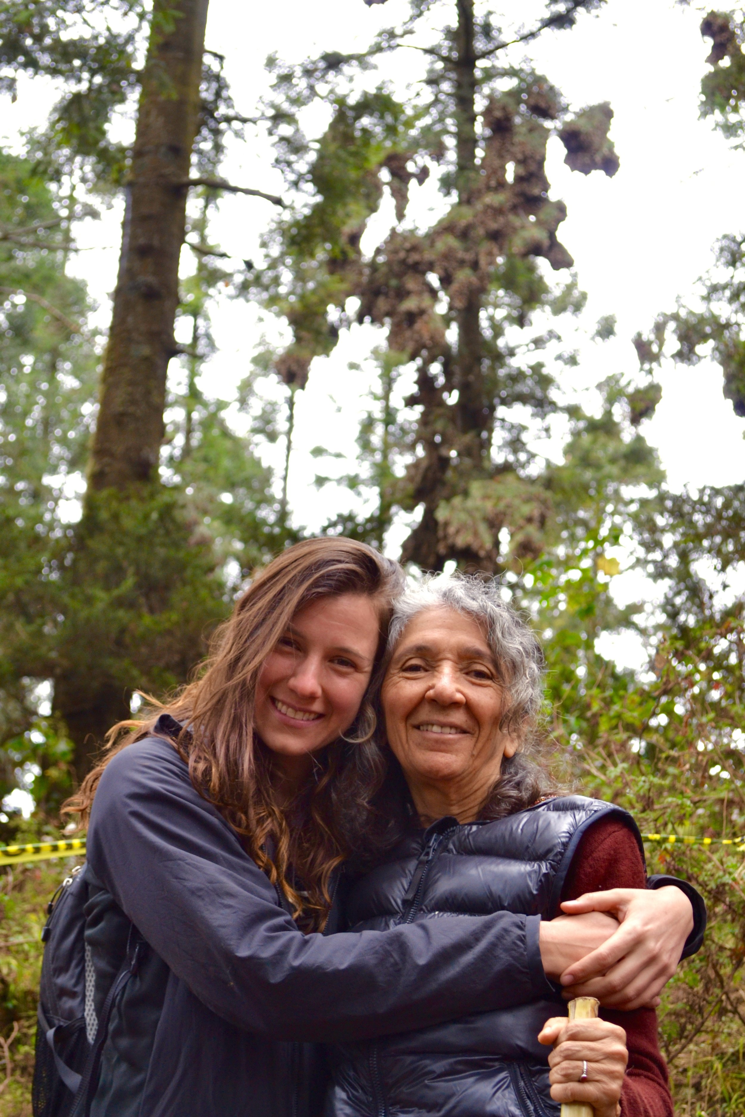 Kate and her aunt Rosa against the backdrop of the Monarch forests.