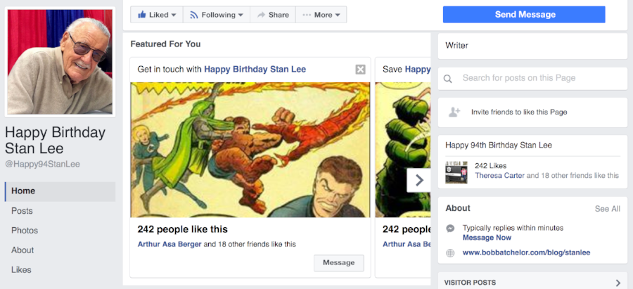 Happy Birthday Stan Lee Facebook Page