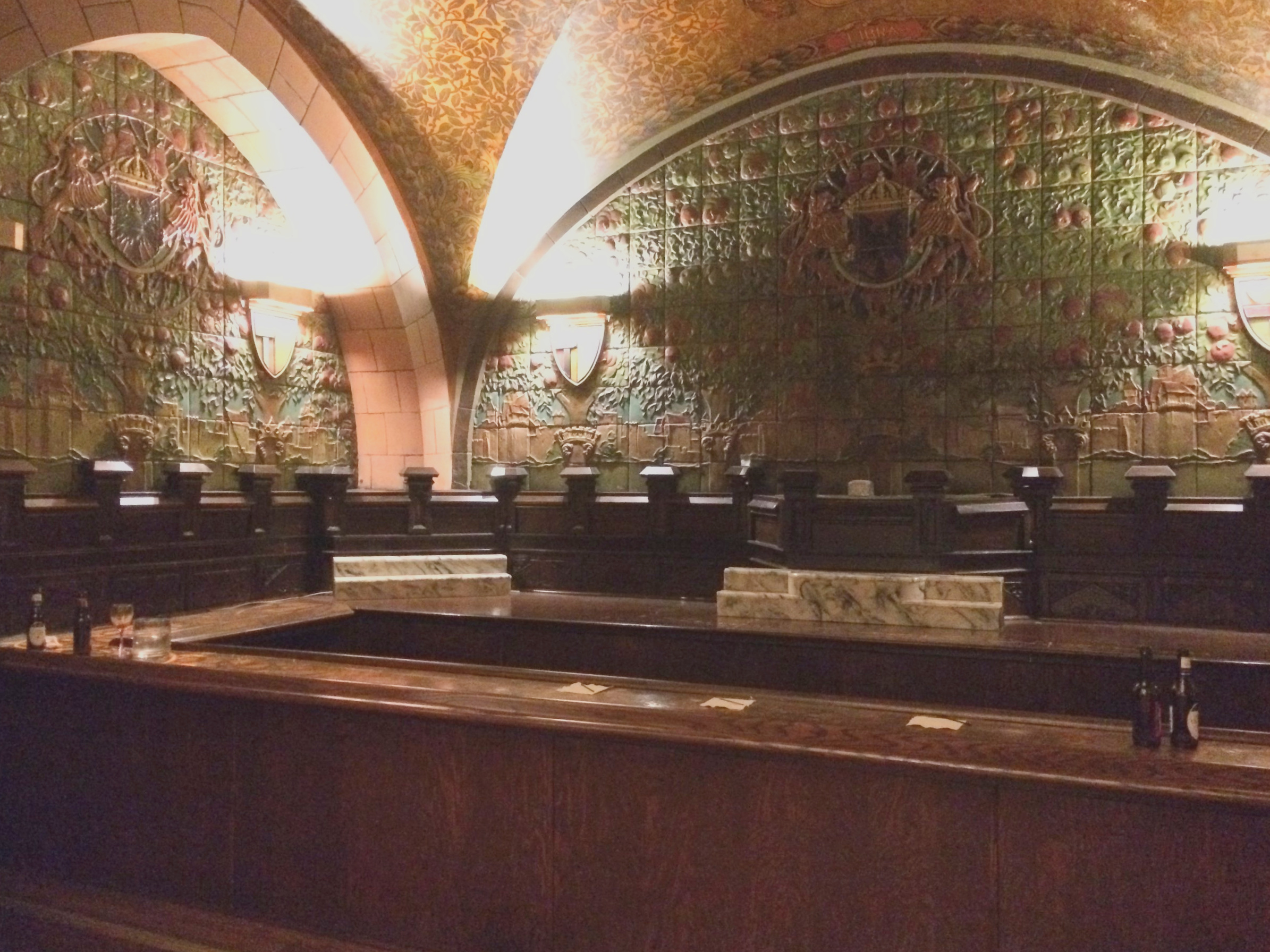 The famous Rathskeller bar in the Seelbach Hilton Hotel in downtown Louisville. Allegedly, Remus and Capone drank together at the Rookwood Pottery tile-encrusted grotto, one of the most stunning displays of Rookwood from the early twentieth century.