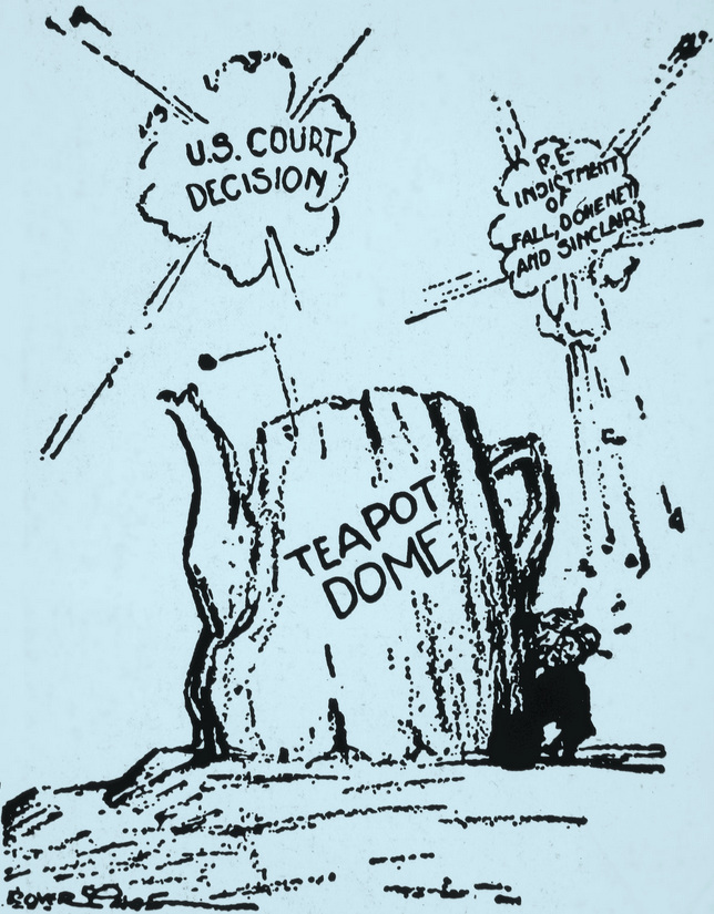 A popular political cartoon representing how the nation has been crushed under the weight of the Teapot Dome scandals.