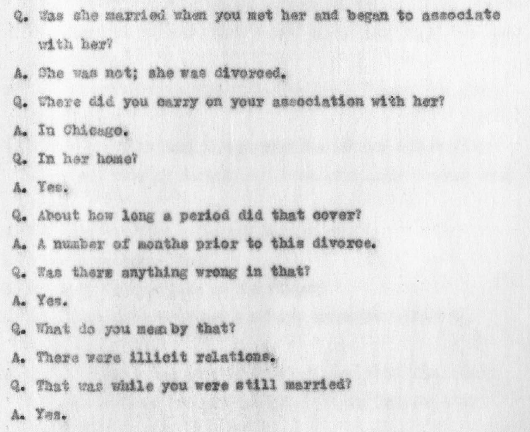 "February 1928 insanity hearing transcript — George Remus answers questions about his early days with Imogene — ""illicit relations"""