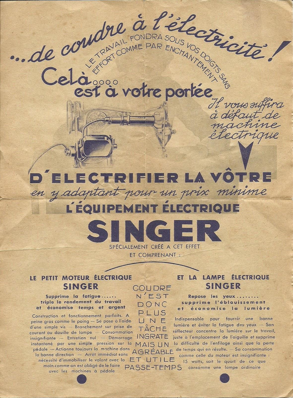 Les premiers moteurs électriques pour machines domestiques étaient offerts en option dans les années 20. Ils commencèrent à être intégrés à partir des années 30.
