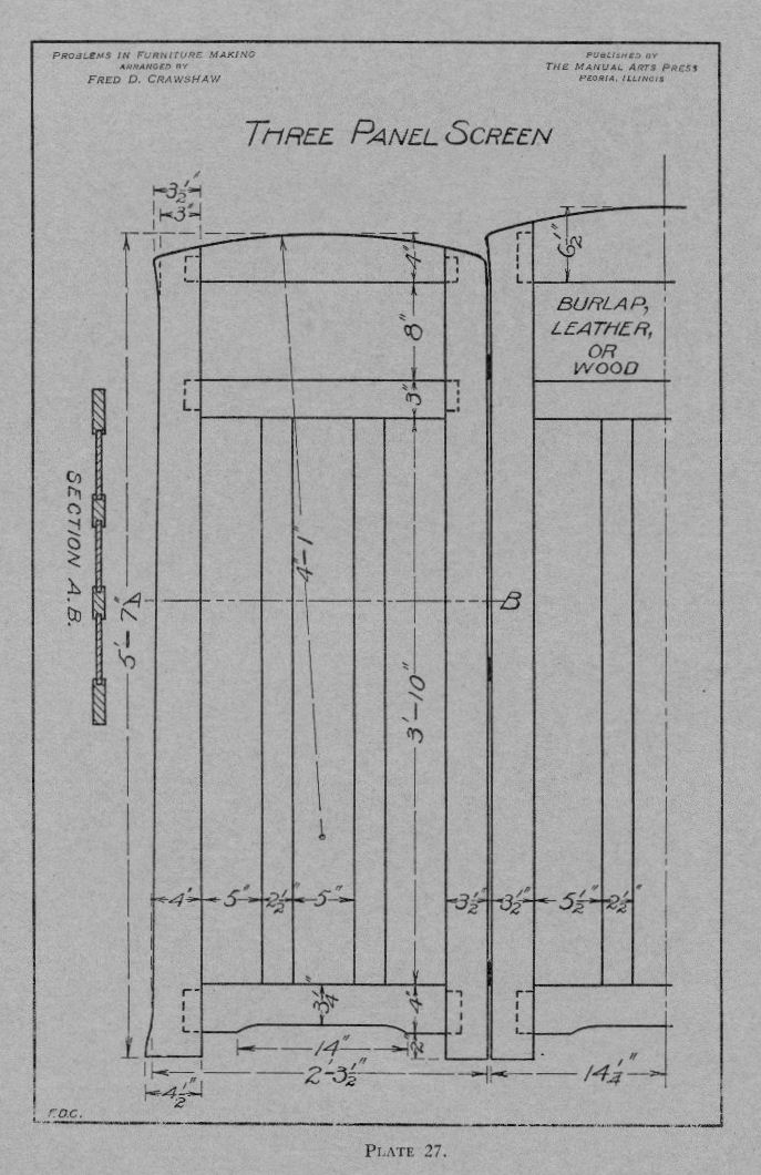 Screen Plan Drawing from Problems in Furniture Making by Fred D. Crawshaw