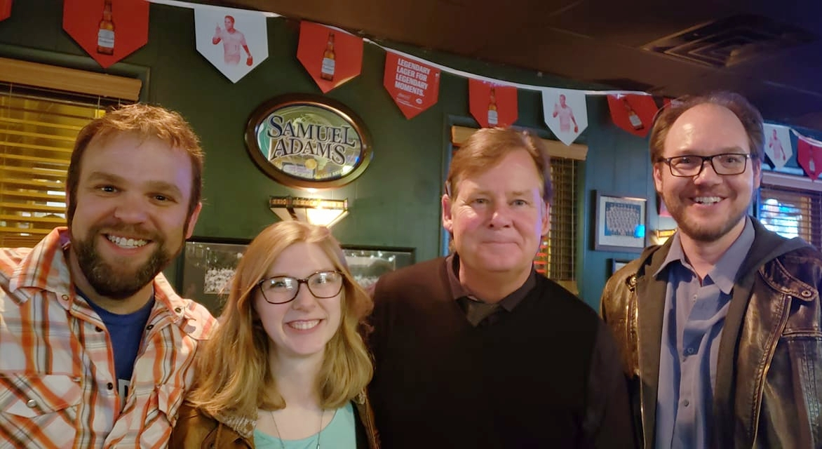 some of the ic team met Joel Murray at  Crowley's  in Mt. Adams. Left to right: Colin Thornton, Sydney Vollmer, Joel Murray, and Sean Dillon
