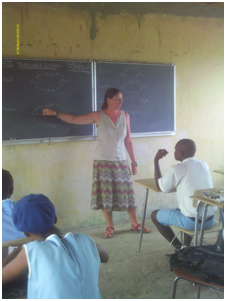 Claire teaching Integrated Science to BECE pupils in JSS3.