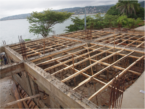 Below - Frame for roof on the first two classrooms