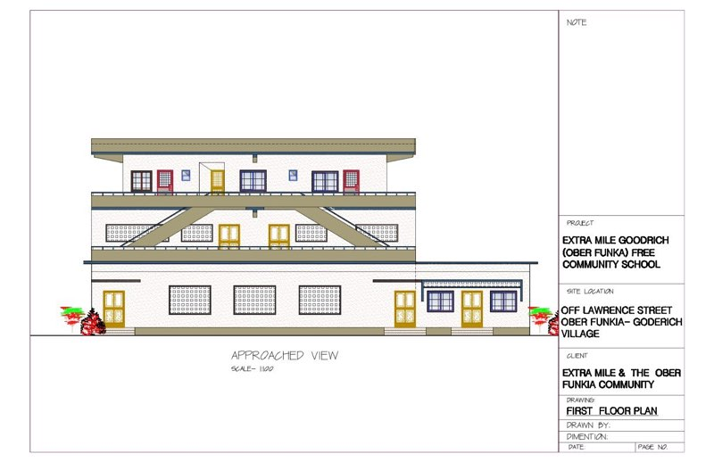 Architect's drawing showing Community Library on right and Volunteer Accommodation on second floor.