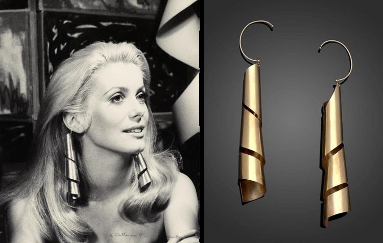 Catherine Deneuve wearing Lampshade earrings, 1966