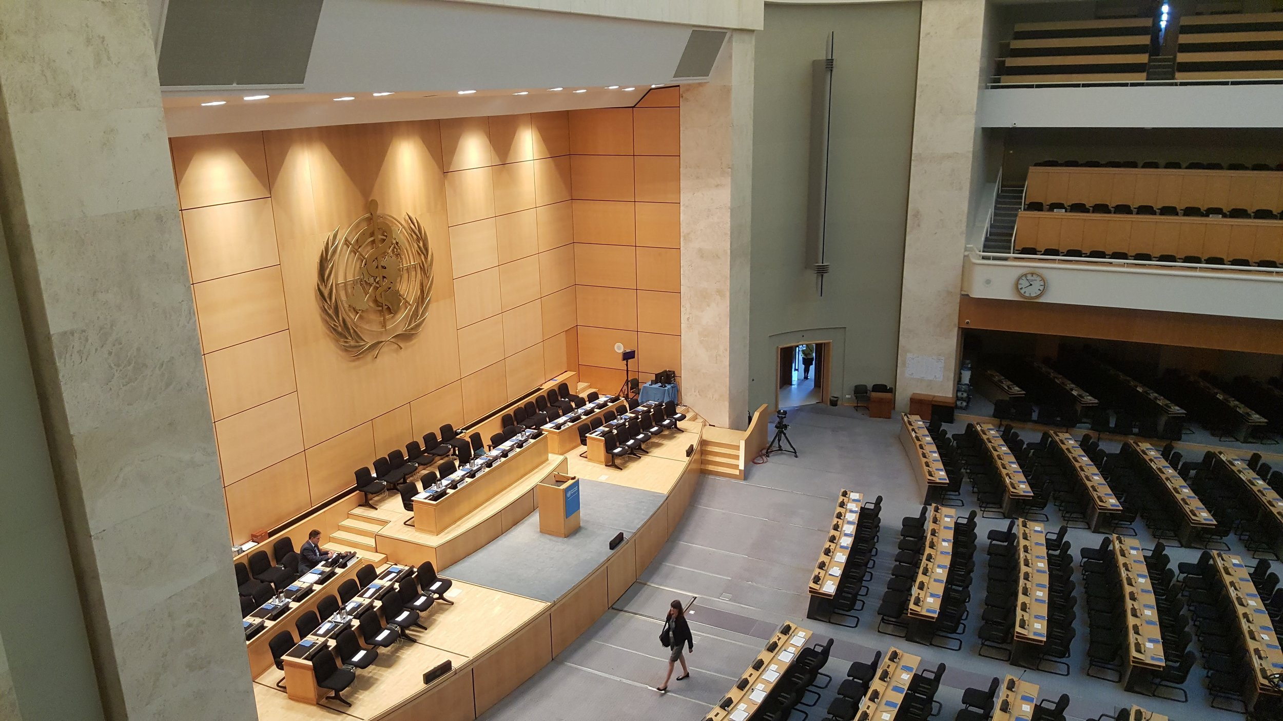 The Assembly Hall of the 70th World Health Assembly, Palais des Nations, Geneva, Switzerland on the morning of the opening of the event. May 22, 2017