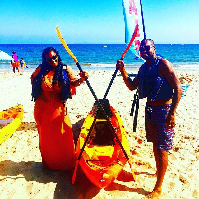 Trevor and Melissa after an epic day of kayaking! 🌞⛱🛶⛵️🏖 #theofficecanwait #eastbeachrentals #sup #standuppaddleboard #standuppaddle #surfsomething #exploresb #santabarbara