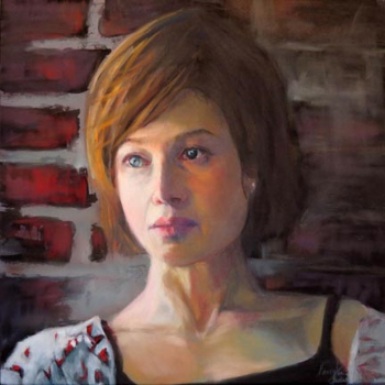 """Second Thoughts 12"""" x 12"""" Pastel on board- Honey Lea Gaydos"""