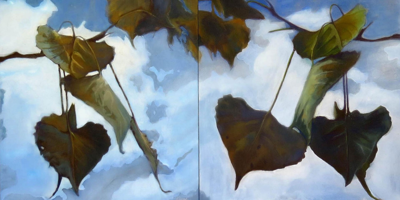 """Cottonwoods"" 1 and 2, 12 x 12- Pastel on board, copyright 2016 Honey Lea Gaydos"
