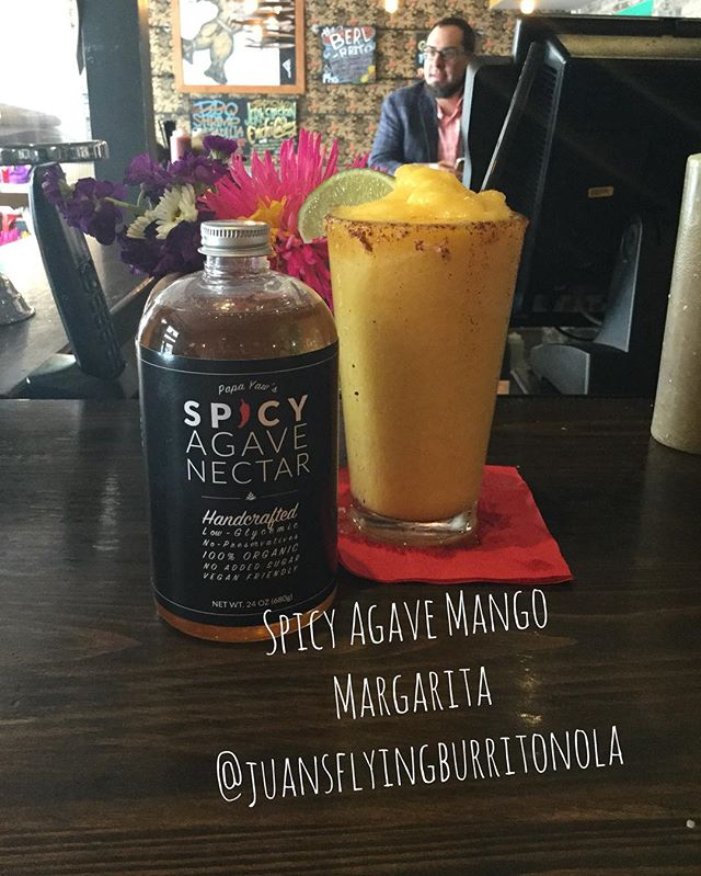 Start the weekend right with a Spicy Agave Mango Margarita @juansflyingburritonola #friyay #foodblogger #spicyagave #mango #margarita #eat #drink #picoftheday #instafood #instagood  #foodie #huffposttaste #agavenectar #tasty #followyournola #nolaeats #foodstagram #itsyournola @itsyournola #weekend
