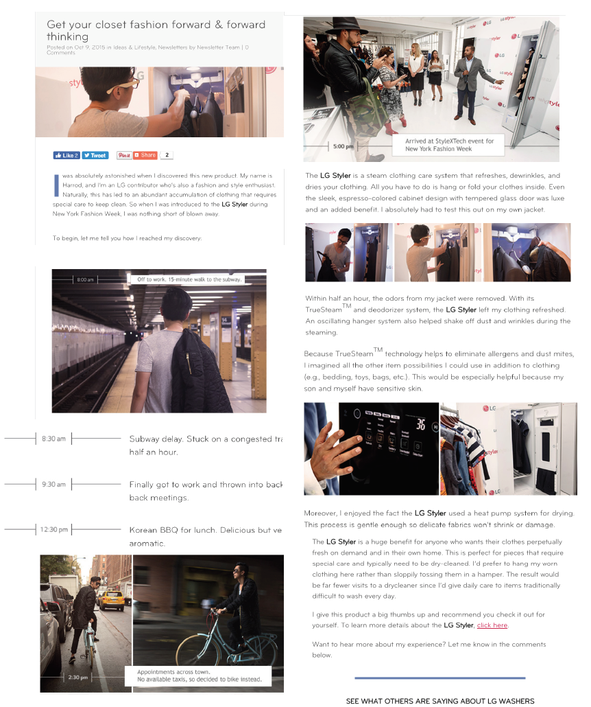 3. Product Reviews - It was rare to have product on hand to do a comprehensive review of products. When we had the opportunity to roadtest the LG Styler, a wardrobe that dry cleaned the clothes simply by hanging them, and we sent a lead influencer from the newsletter community to write the product review for us which gave the piece some fresh millennial appeal.