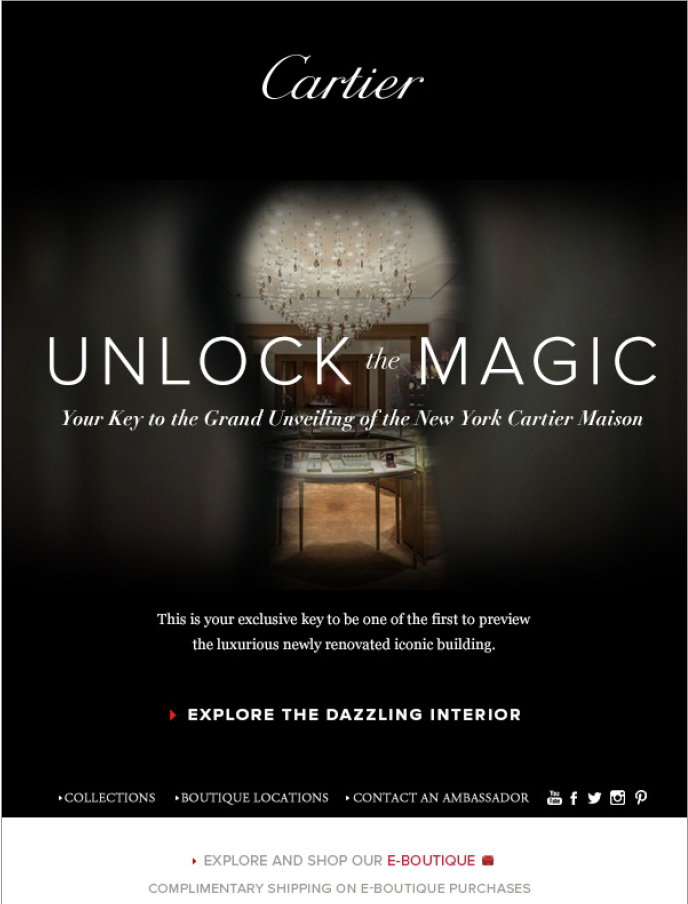 "An Exclusive Invitation - We built excitement around the opening by sharing exclusive peaks of the renovations and opening special customer sales events by inviting clientele, via email, to ""unlock the magic"" of the mansion with an email"