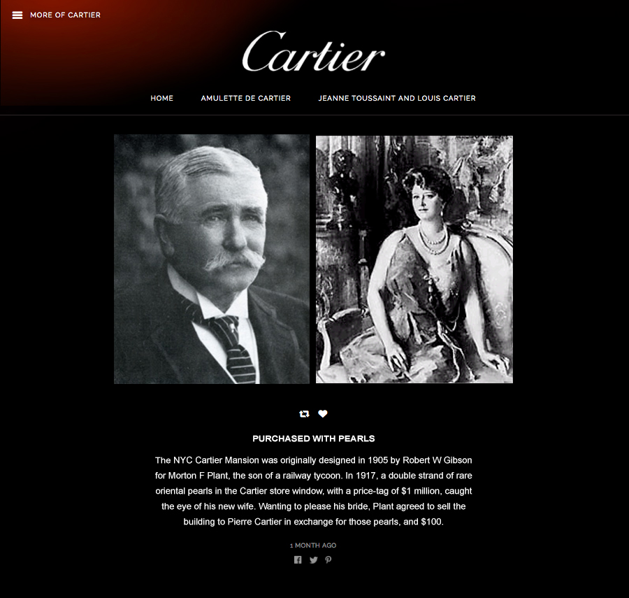 Long and Short Form Posts - In addition to the invitations to the microsite, we also sent out long and short form stories, anecdotes and ephemera from the Cartier historical vault to create a personal connection between clientele and the history of the brand.