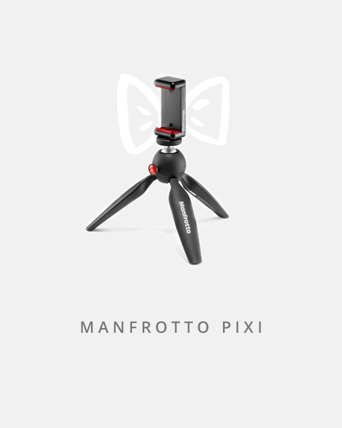 Small but mighty, this tiny tripod comes with a universal phone holder that you can use on any standard tripod. Pixi perfect!