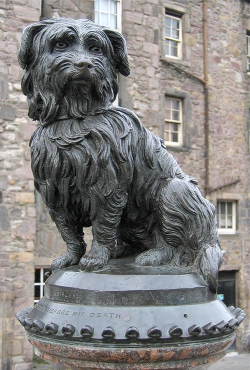 GRAYFRIAR  S BOBBY, LEGEND HAS IT, GUARDED HIS MASTER'S GRAVE FOR 14 YEARS, and IS COMMEMORATED BY THIS STATUE IN EDINBURGH