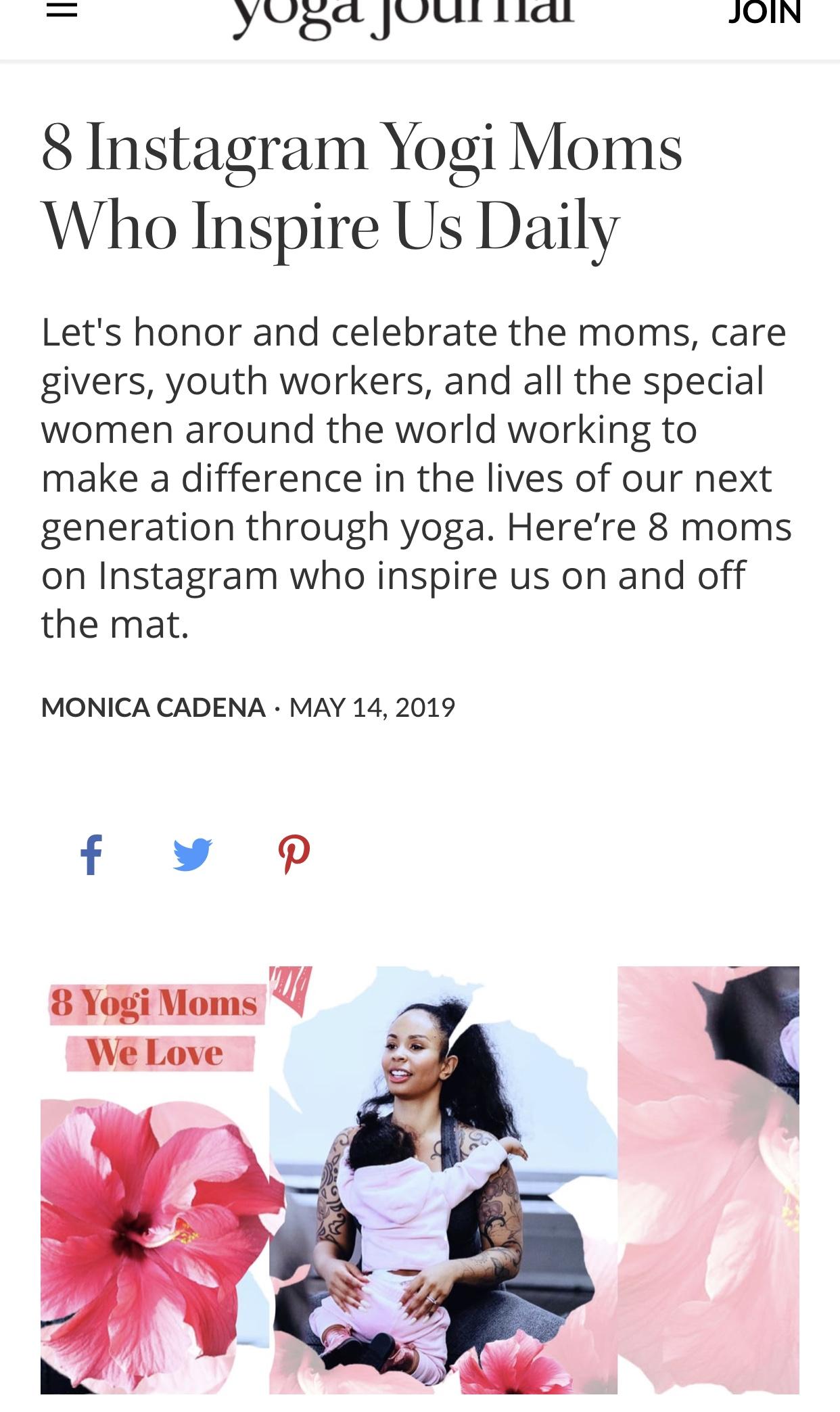 Yoga Journal - Yogi Moms Who Inspire us Daily