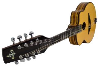 "The Nashwood ""Djangolin"", after Maccaferri's Gypsy Jazz Guitar, in Zebrawood with a sitka spruce top."