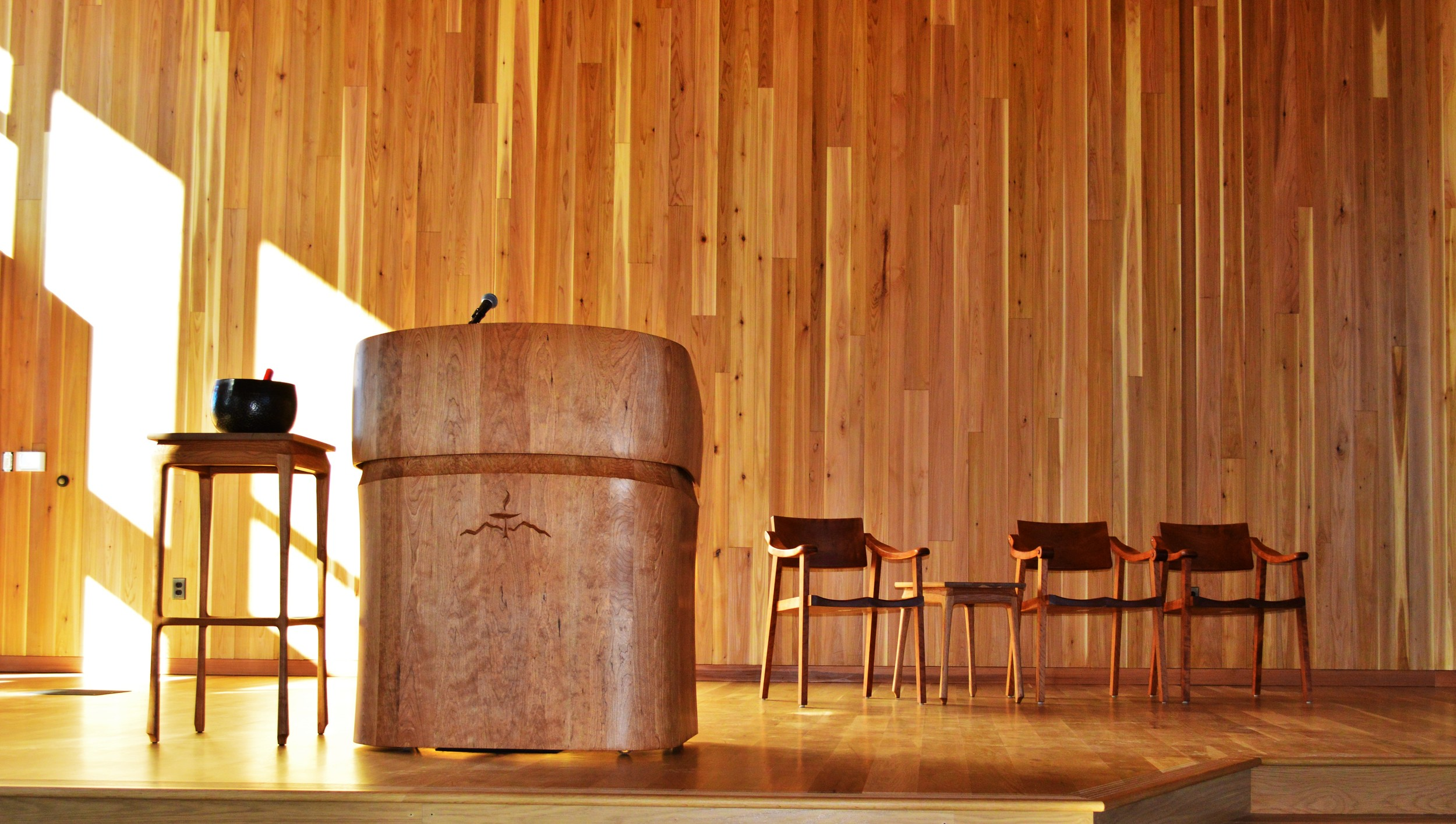 Unitarian Universalist Stage furniture, by Will Nash, 2015
