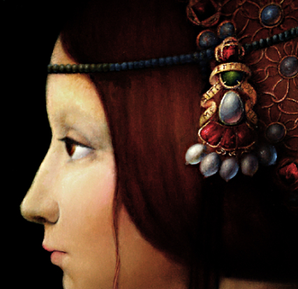 DETAIL of Interpretation of Portrait of Bianca Maria Sforza by Ambrogio de Predis