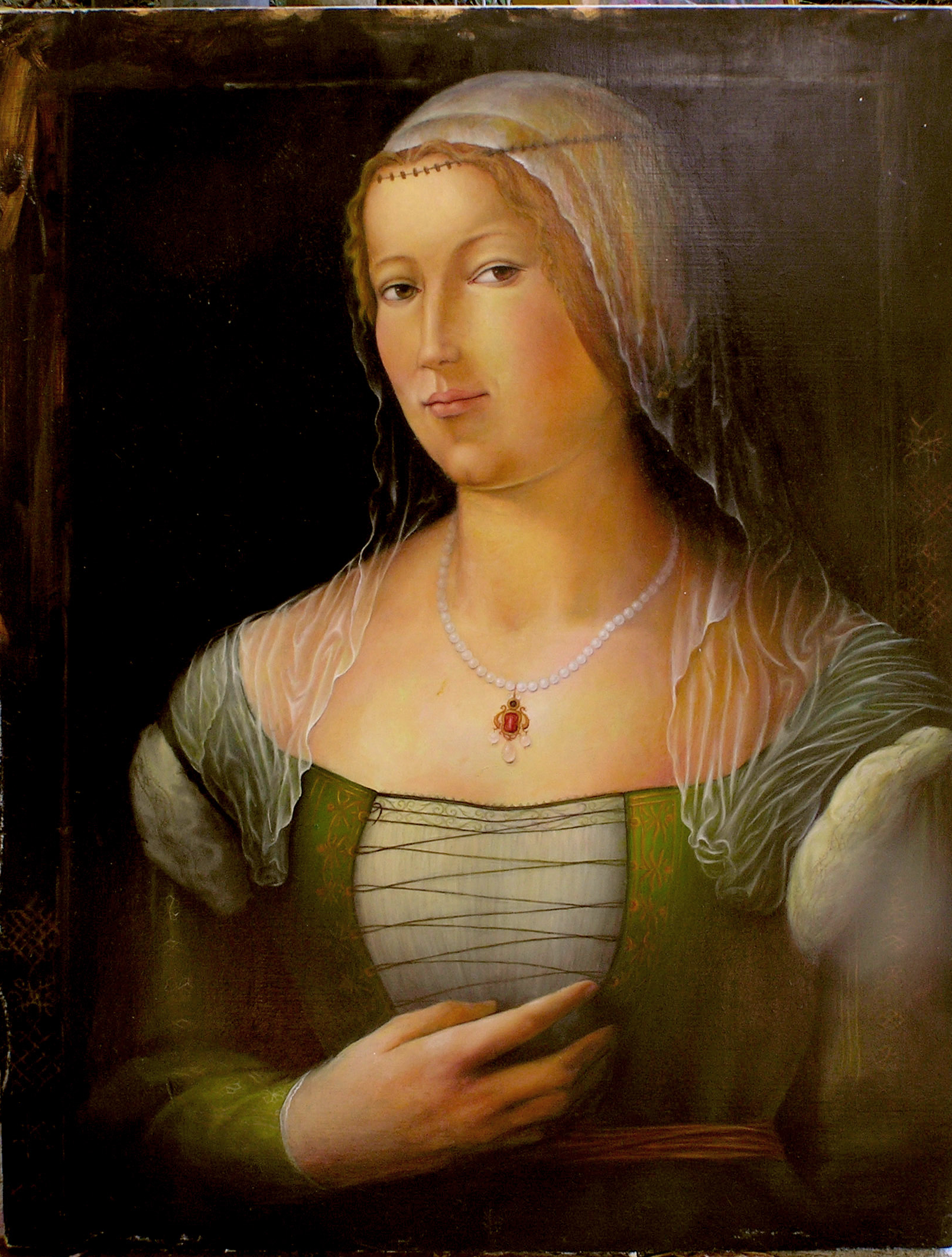 13Interpretation by Trinka Margua Simon of Portrait of a Young Woman by Girolamo di Benvenuto.jpg