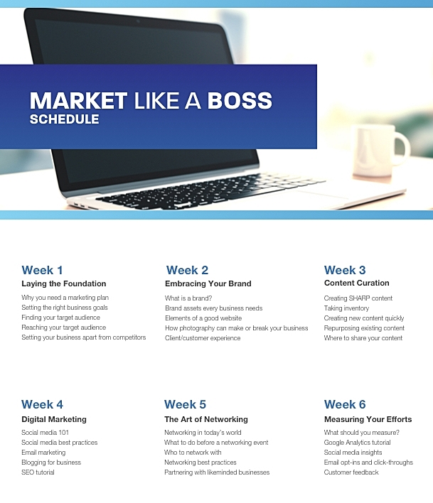 Market Like a Boss Course Schedule