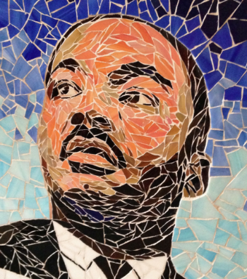 "Close-up of MLK Jr, Portrait. Part of ""Pieces of Our Past"" by Michael J. Ferreira."