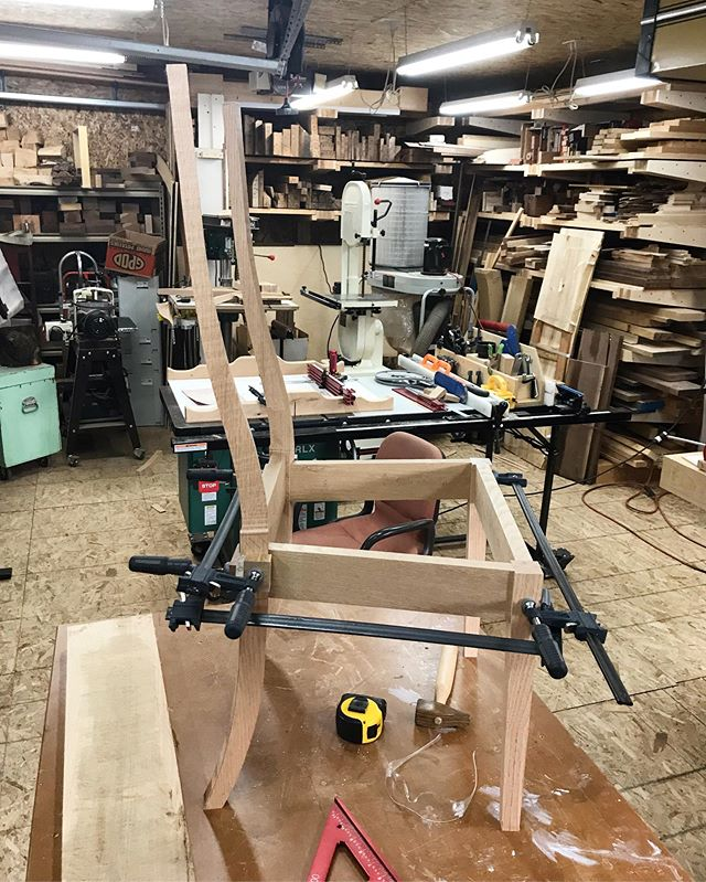 "Looking like a chair. Even had a successful first test sit to gauge if you can feel the difference in leaning the back out by 2"" as compared to the original. Thinking we have a winner. It's also 2"" wide and 1"" deeper. Now to smooth the legs and get the back rest worked up. Only issue is the rift dawn white oak I picked up turned out to actually be red oak when I got it cleaned up."