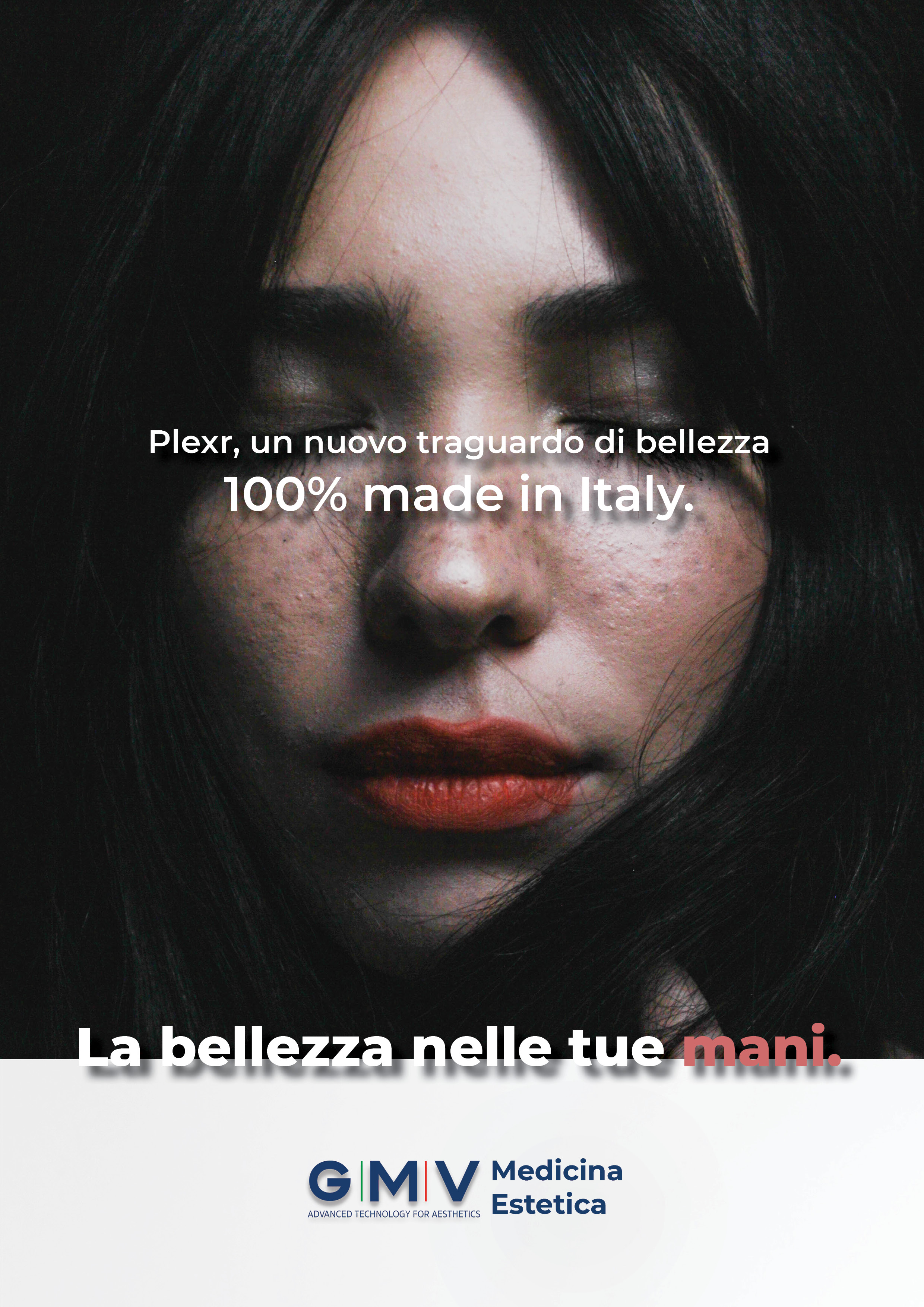 Translation: Plexr, a new benchmark in beauty, 100% made in Italy.