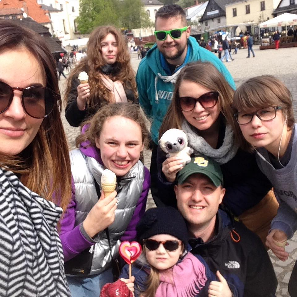 Top row: Tamara, Elina (Tetyana's niece), Josh. Middle: Me, Tetyana, Sasha. Bottom: Daniel with Camilla.