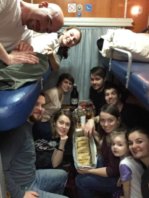 Crowded onto the train car coming home from our retreat. Still one of my favorite memories!