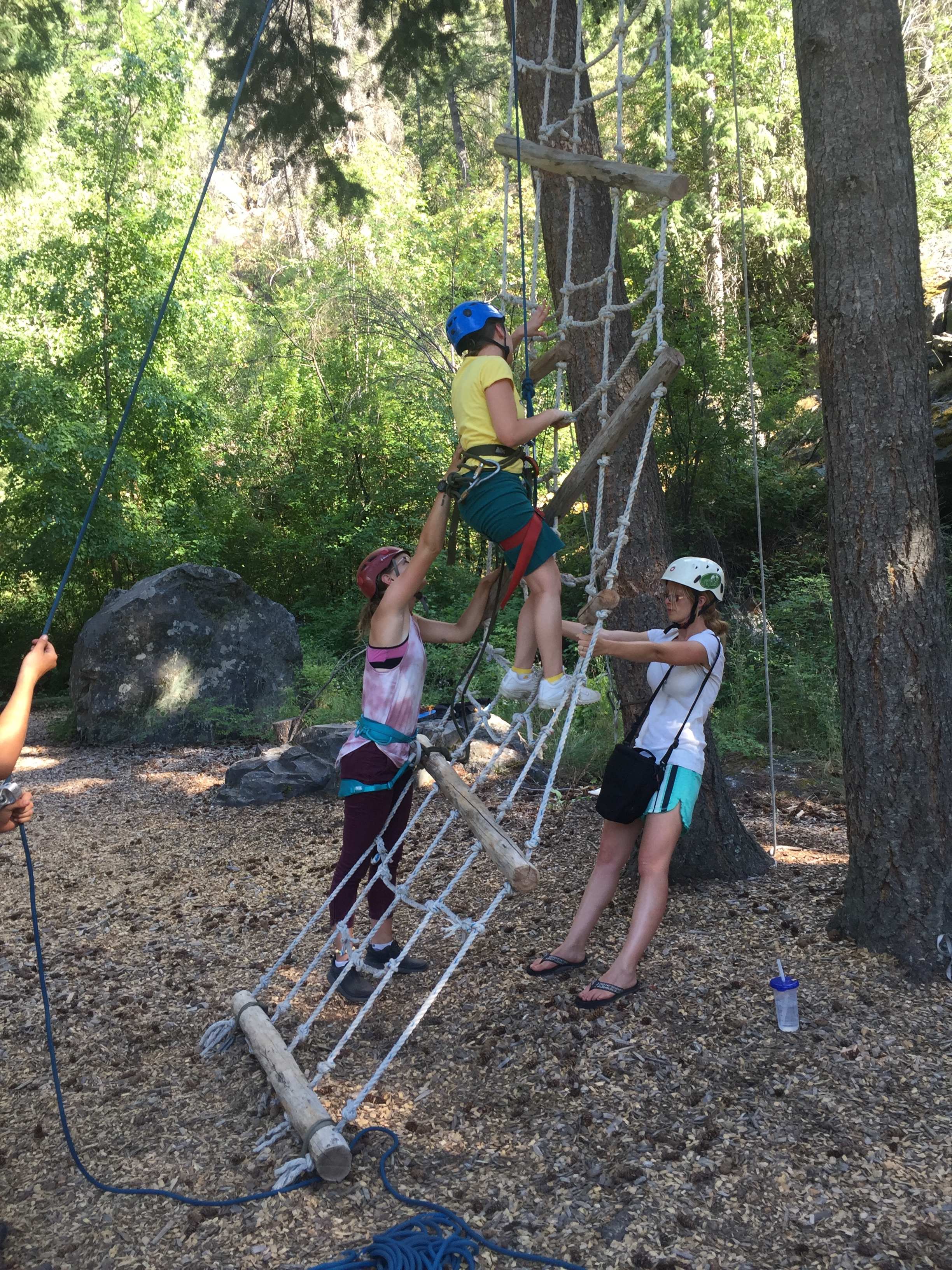 One of our girls, who is diagnosed with Cerebral Palsy, waited very patiently for her chance to try the ropes course! She was the last camper to climb and even though it was almost time for dinner patiently and sometimes tediously pushed herself through the whole course. We were so proud of her!