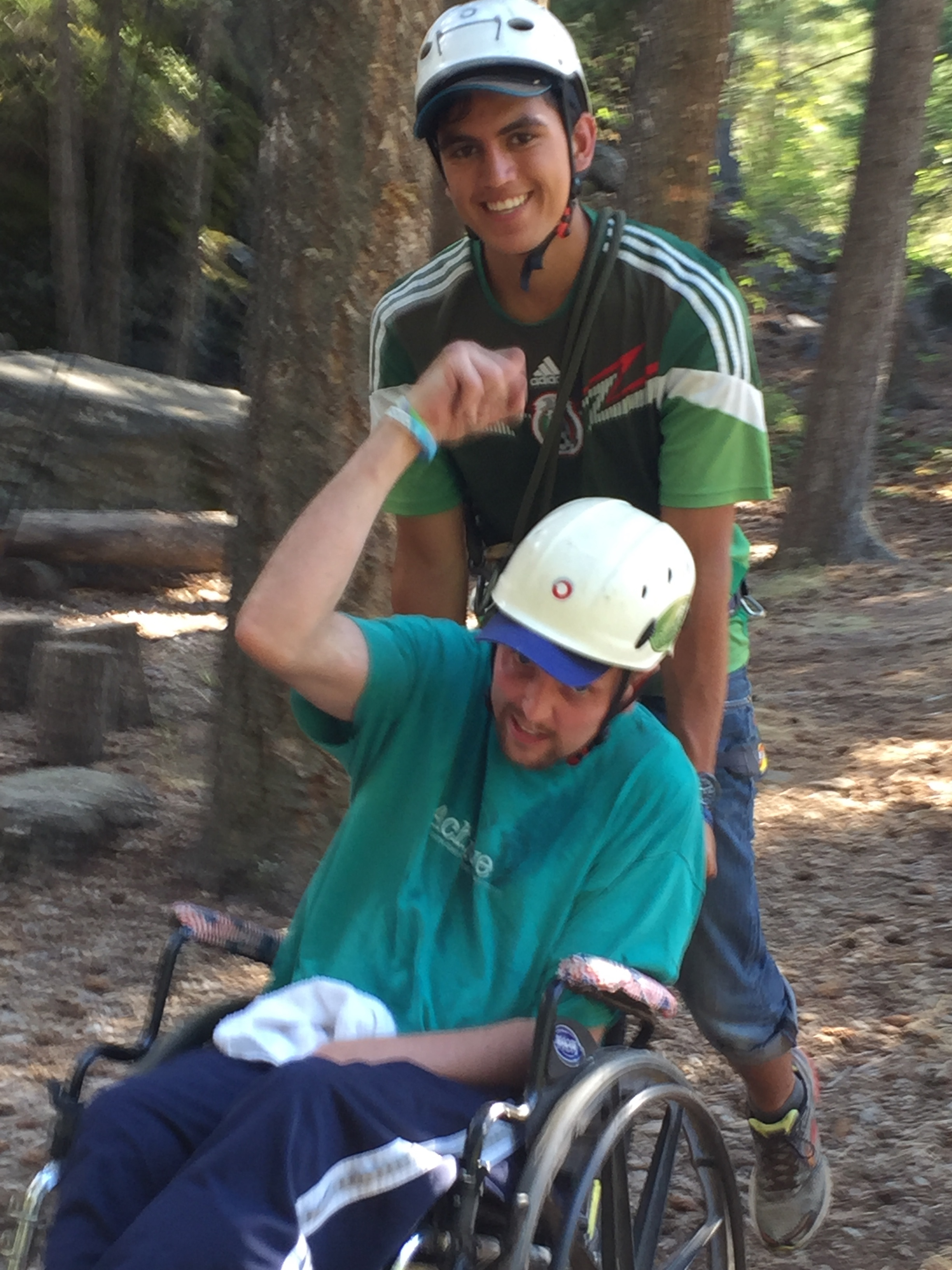 Justin survived a severe brain injury as a teenager, but that didn't stop him from also completing the ropes course with the help of his buddy Ben! It was amazing to witness these brave campers go out and achieve their dreams!