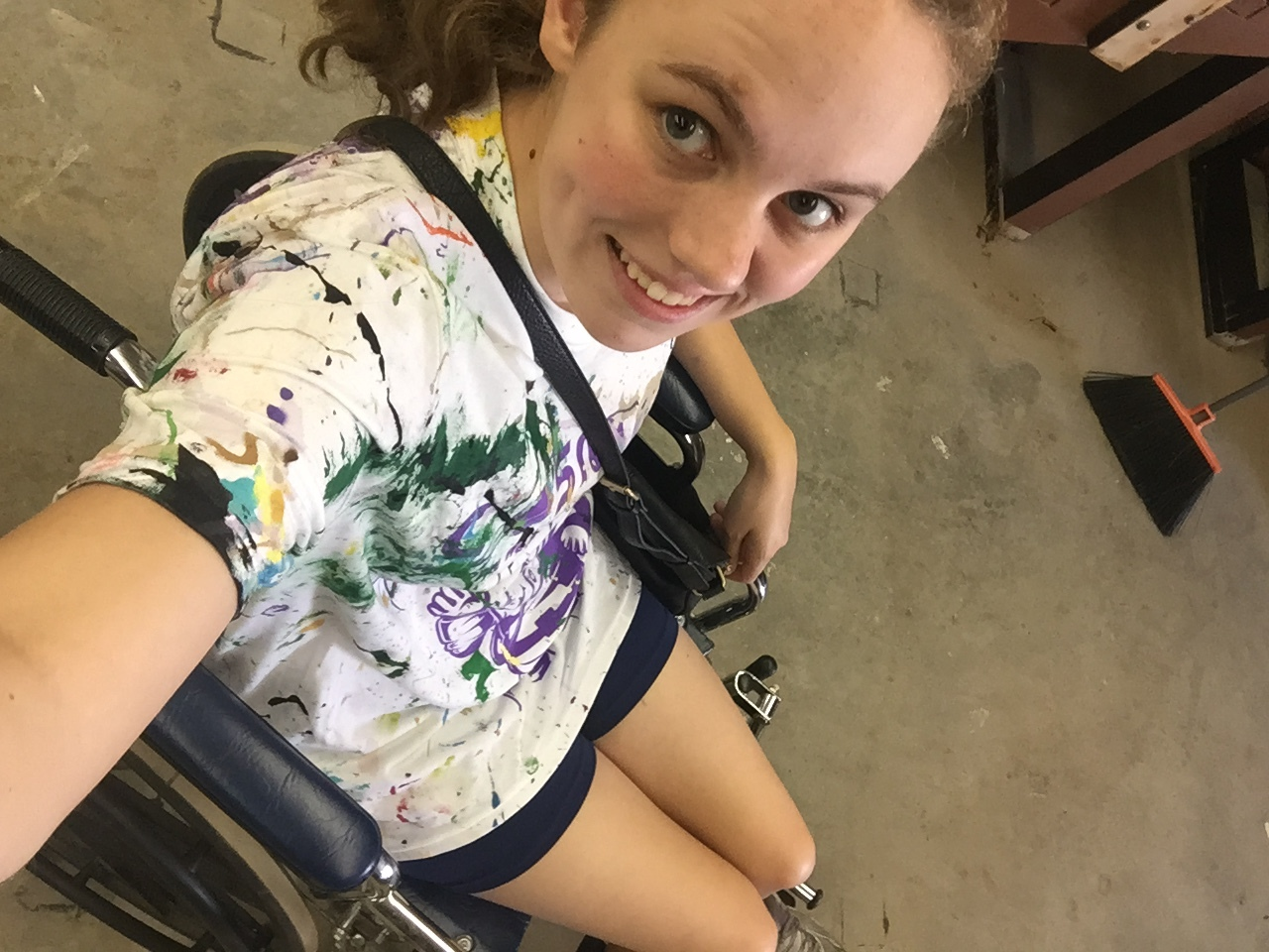 Wheelchair selfie getting ready to play Colin.