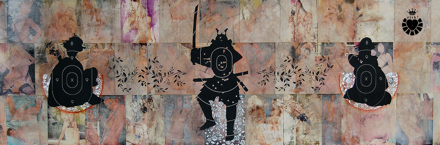 Samurai with Geisha / 30 x 90 / Original Sold