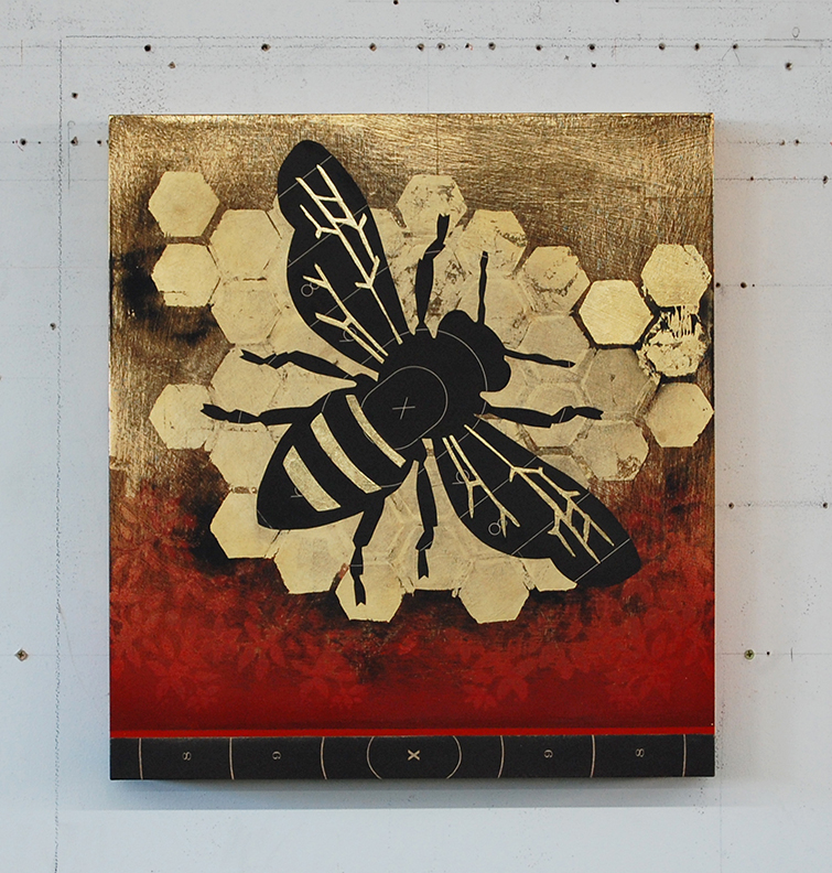 Pollen Junkie (Worker Bee) @ 22 x 21 x 3 / Original Sold