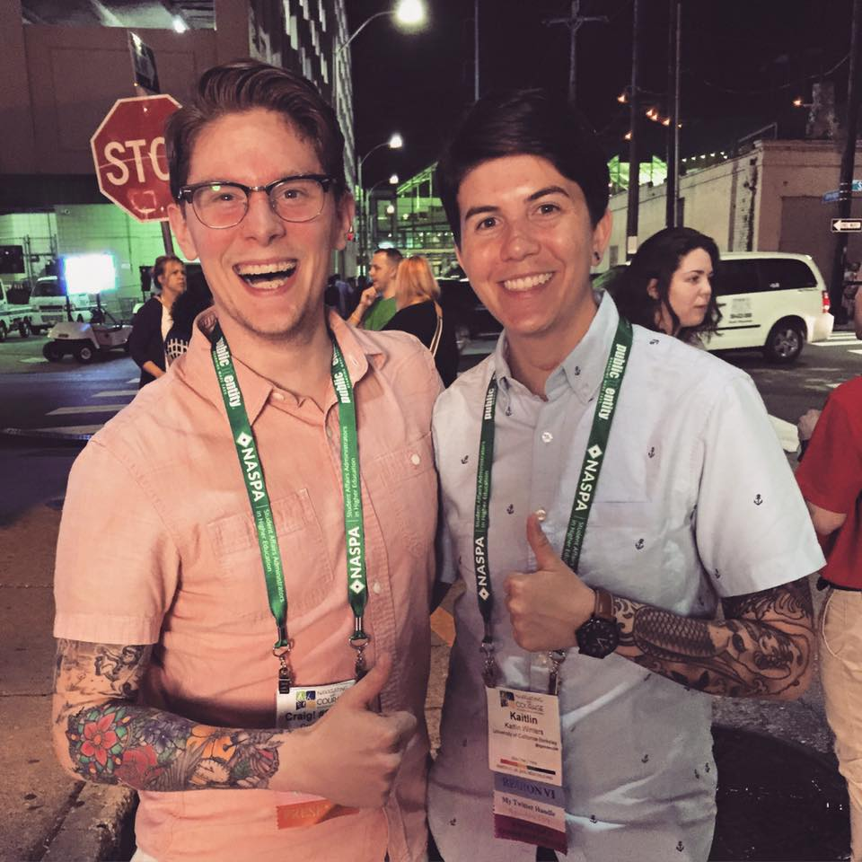 My fellow tattooed Student Affairs colleague, Kaitlin Winters, and I at the NASPA National Conference in New Orleans in March 2015. So glad Kaitlin shared their story.
