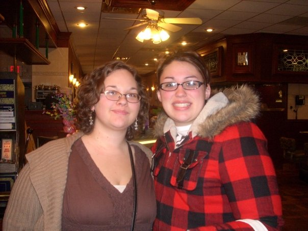 Emily and I at an early morning family breakfast. This was the last time I saw her.