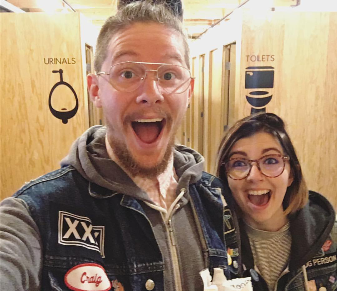 Here we are going to the bathroom together at the amazing gender-less bathrooms at Optimism Brewery in Seattle, Washington!