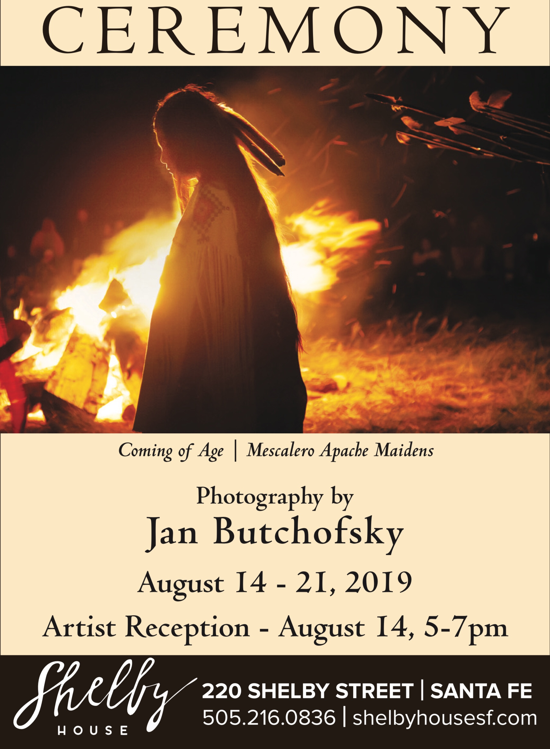 Coming of Age Ceremony: Portrait of Mescalero Apache Women by Jan Butchofsky will be on display at Shelby House in Santa Fe August 14 - 21, 2019.