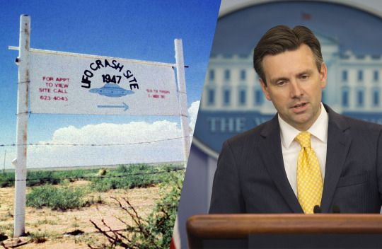 The alleged 1947 crash site of a flying saucer in Roswell, N.M.; and Josh Earnest addresses the media on Monday. (Photos: Reuters, Pablo Martinez Monsivais/AP)