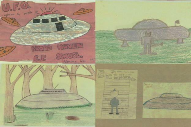 Original drawings by the children who witnessed the incident.