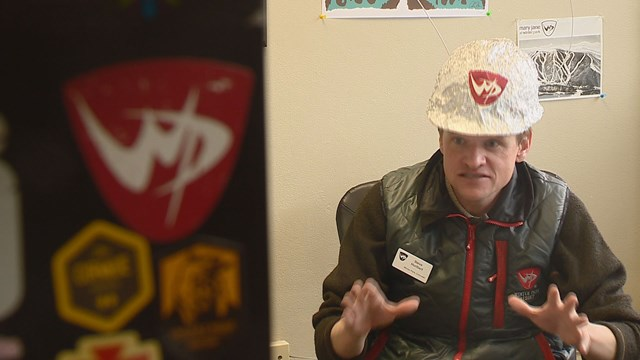 Winter Park Director of Public Relations Steve Hurlbert wearing a tinfoil hat. Image credit:Matt Renoux, KUSA