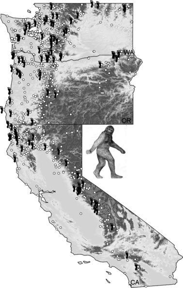Map of Bigfoot encounters from Washington, Oregon and California used in the analyses. Points represent visual/auditory detection, and foot symbols represent coordinates where footprint data were available. Shading indicates topography, with lighter values representing lower elevations.  Image and copy credit: J.D. Lozier