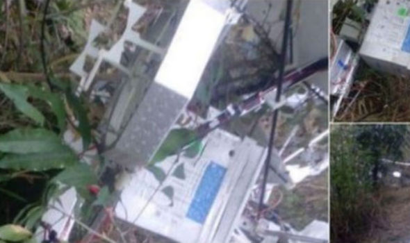 Photographs of the crashed balloon. Image credit: Colombian Police