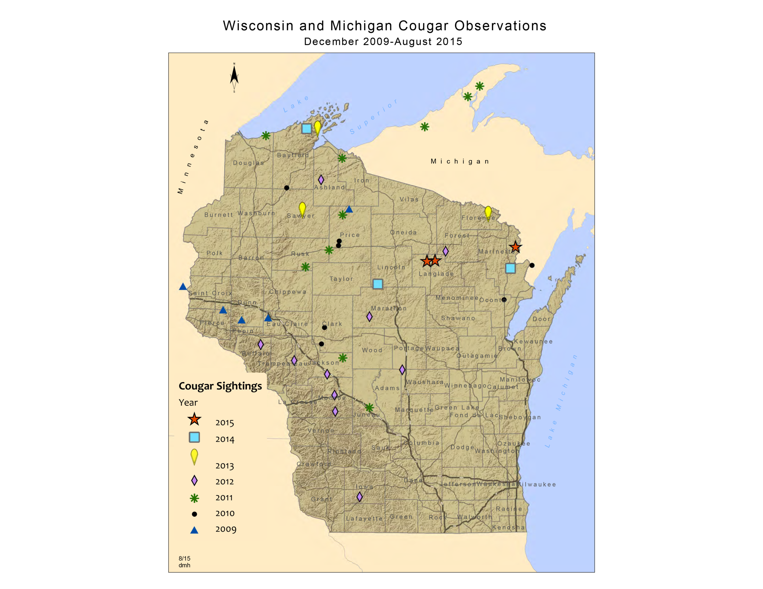 A map of mountain lion sightings in Wisconsin by date. (Image credit: dnr.wi.gov)